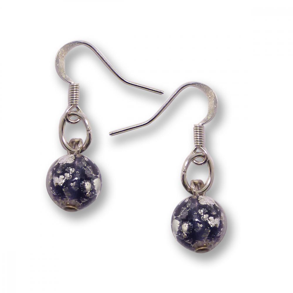Murano Glass Earrings - Brina Dark Violet Photo
