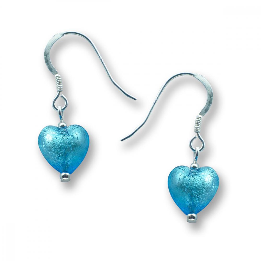 Murano Glass Heart Earrings - Esta Aquamarine Photo