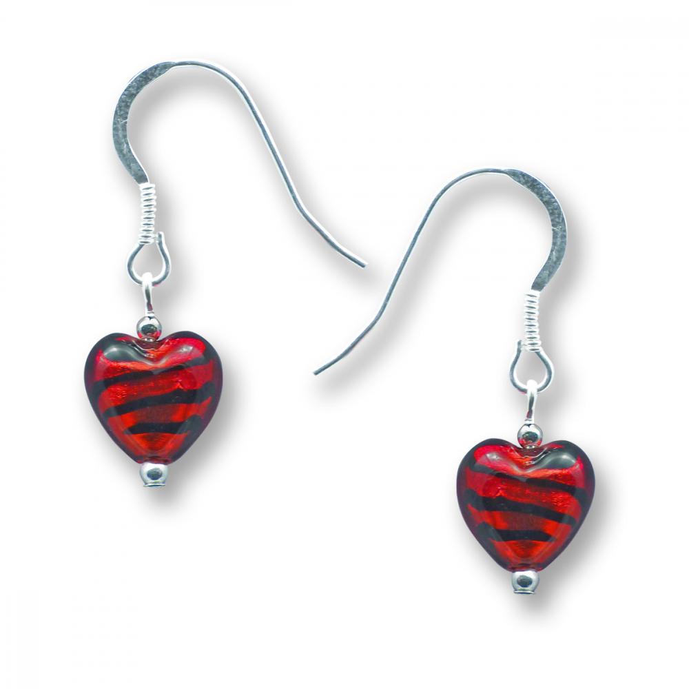 Murano Glass Heart Earrings - Esta Rosso Zebrato Photo