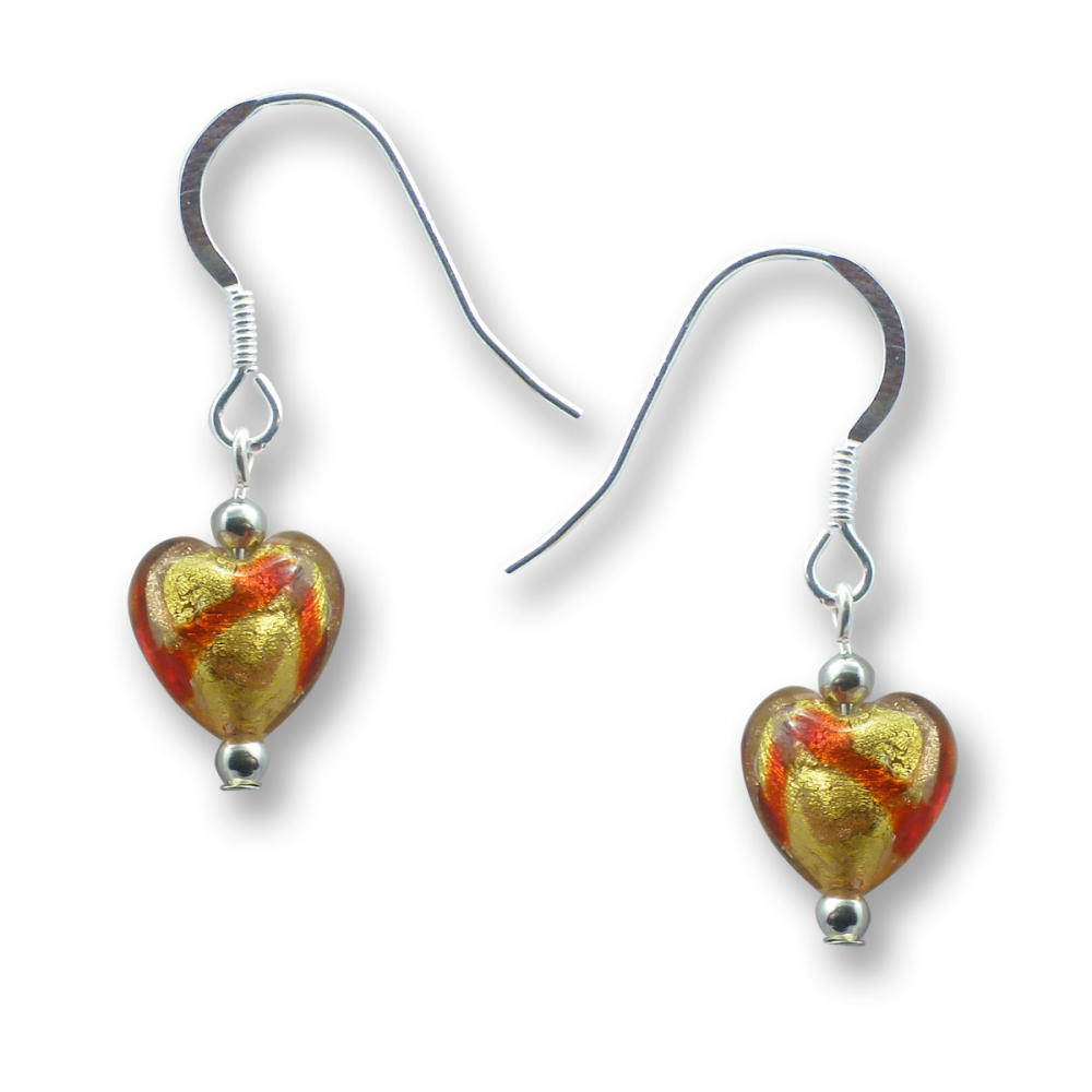 Murano Glass Heart Earrings – Mara Rosso Photo