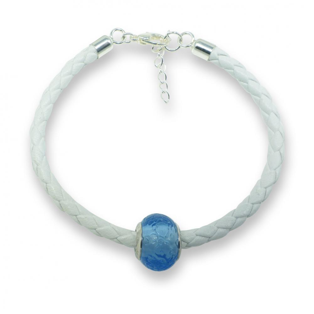 Murano glass charm bead nappa leather bracelet - venezia dodici blue/violet Photo