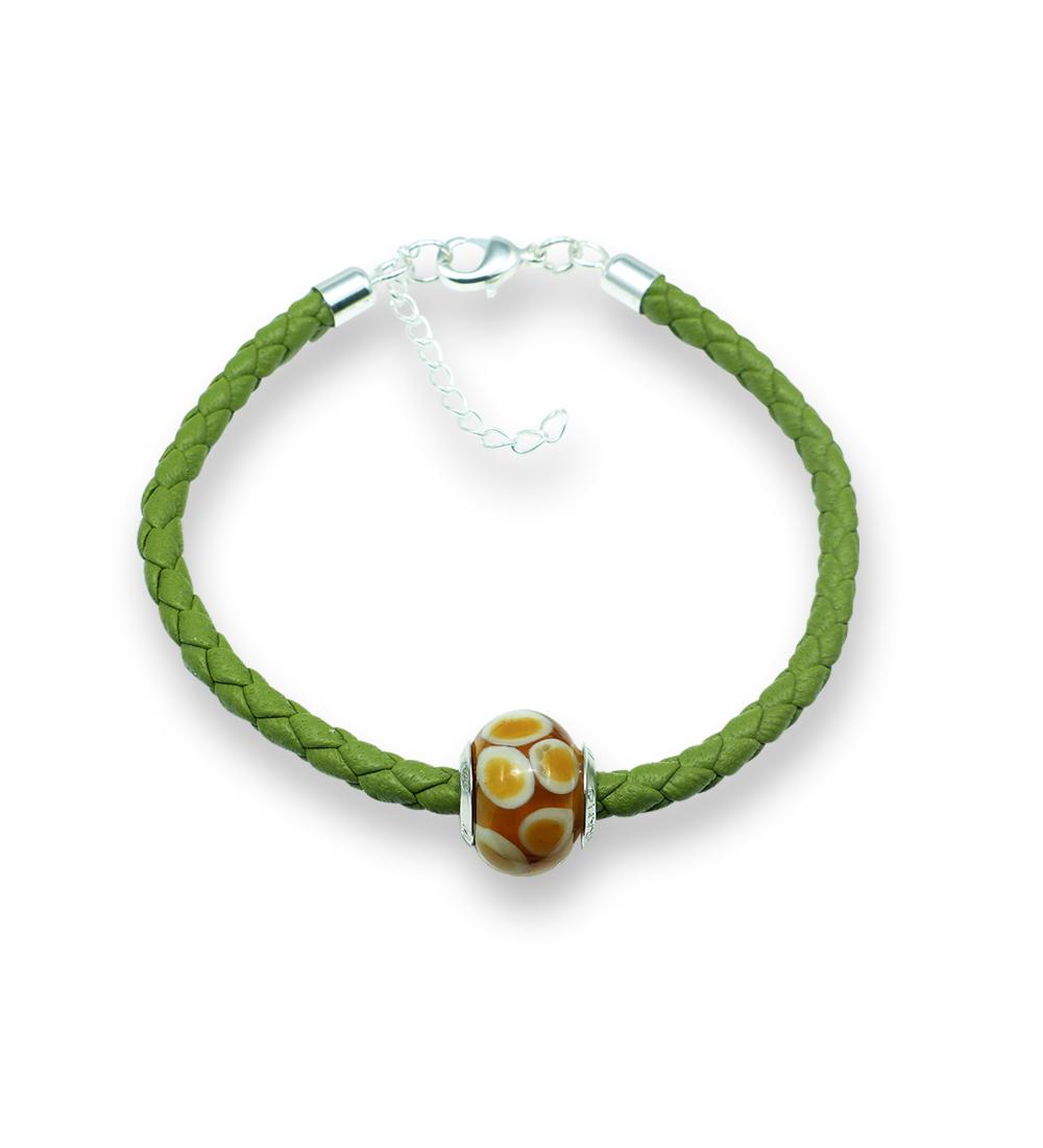 Murano glass charm bead nappa leather bracelet – Venezia Otto Photo