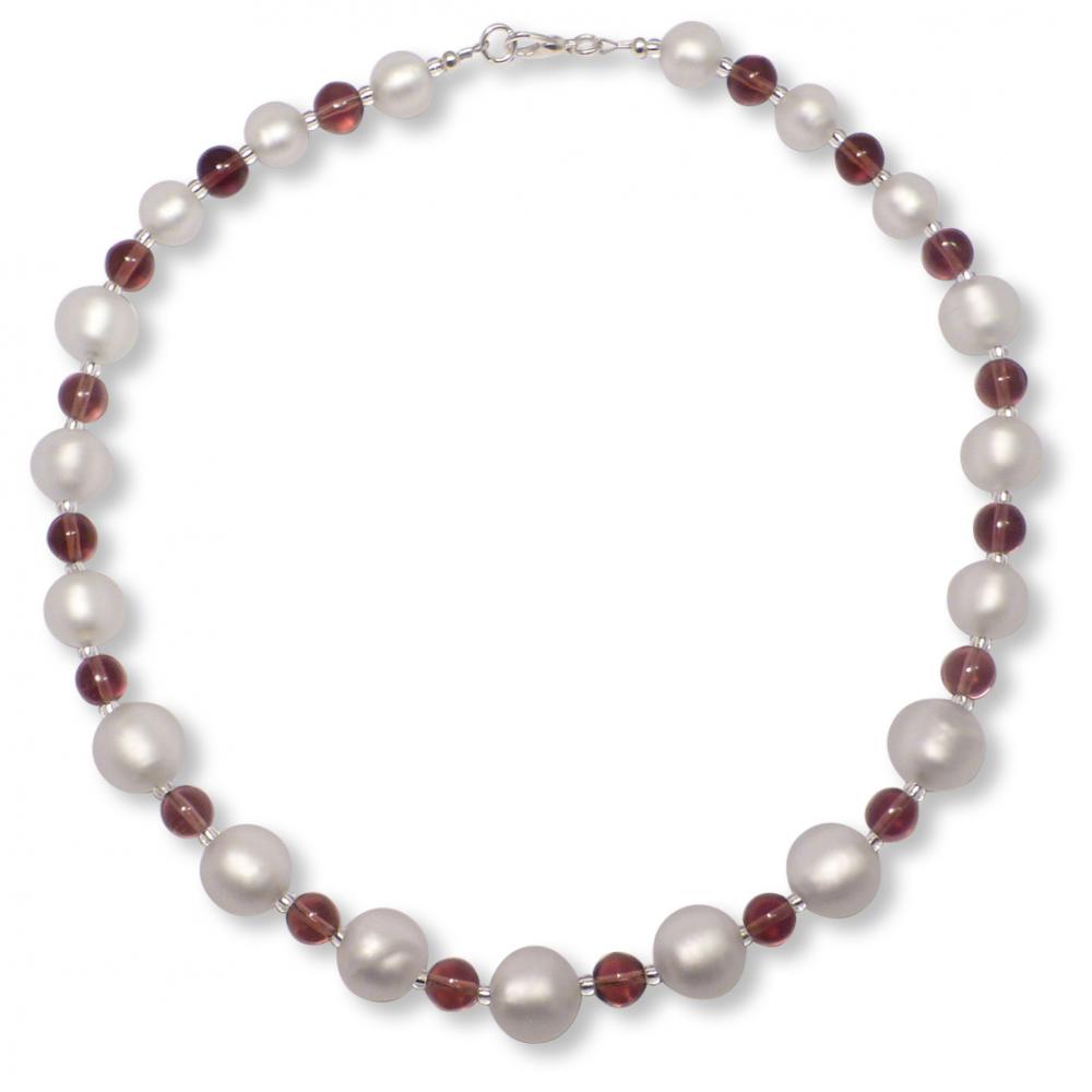 Murano Glass Necklace - Luna Silver Matt Photo