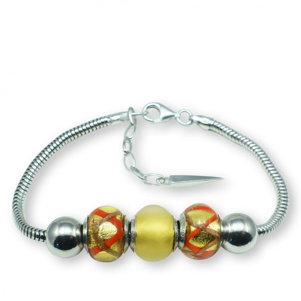 Murano glass charm bead silver bracelet - Roma Photo