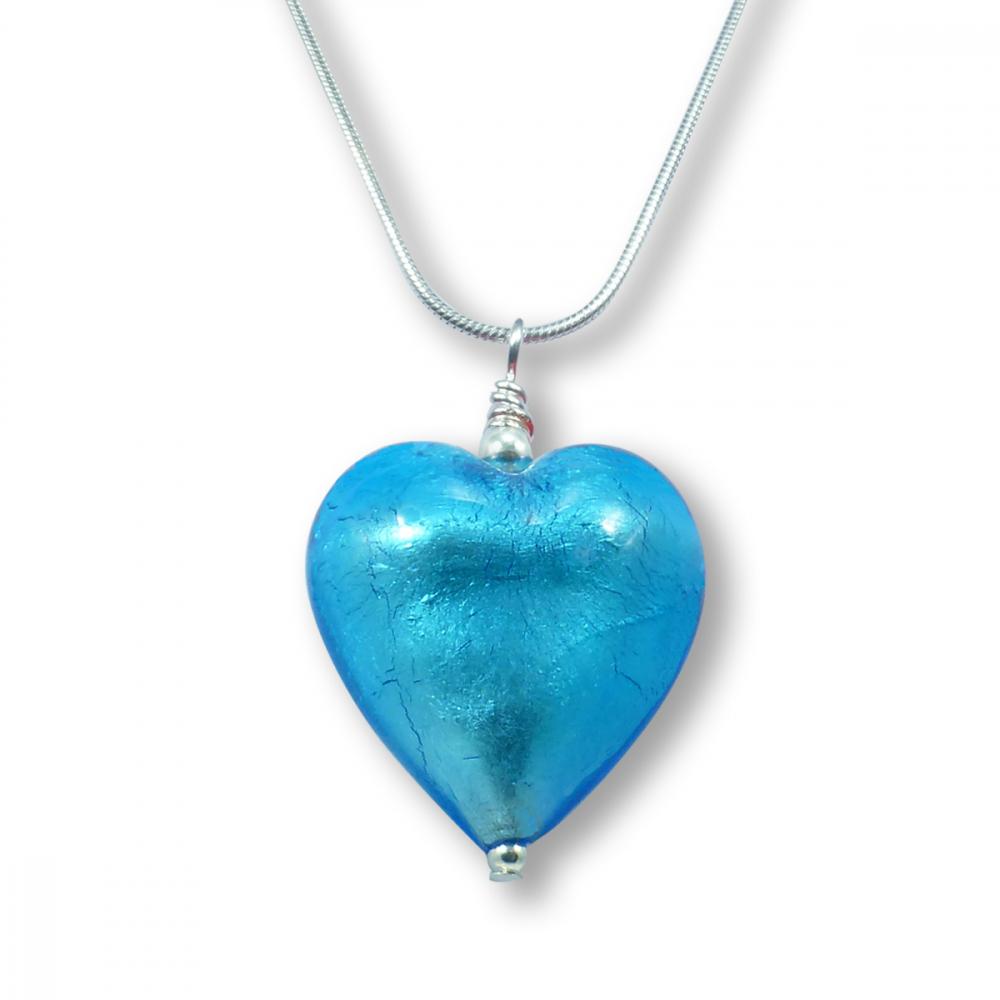 Murano Glass Heart Pendant - Esta Aquamarine Photo