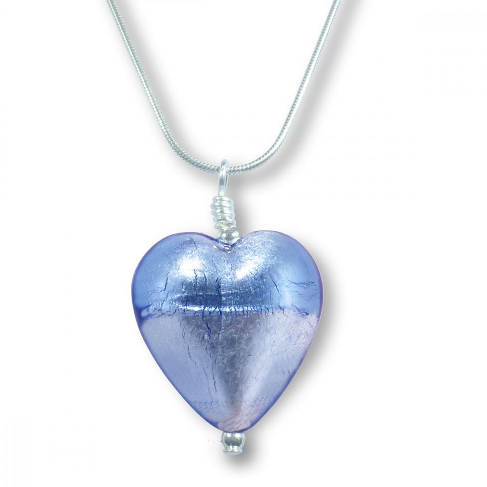 Murano Glass Heart Pendant - Esta Azure Photo