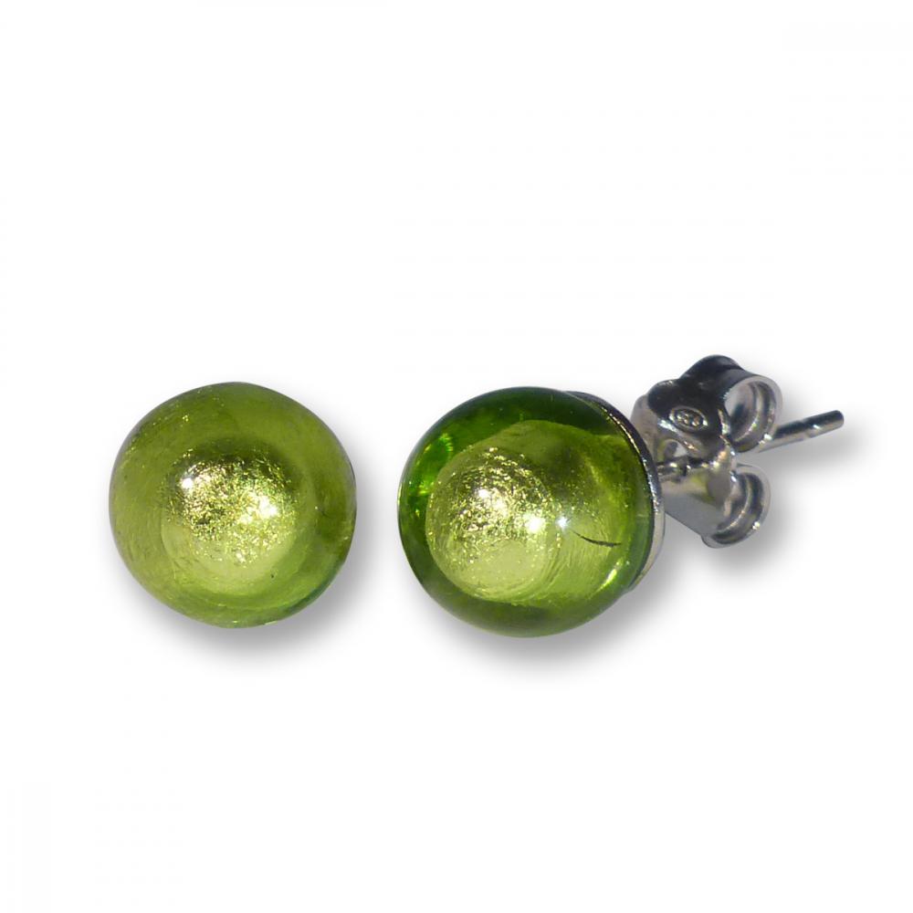 Murano Glass Stud Earrings - Esta Lime Photo