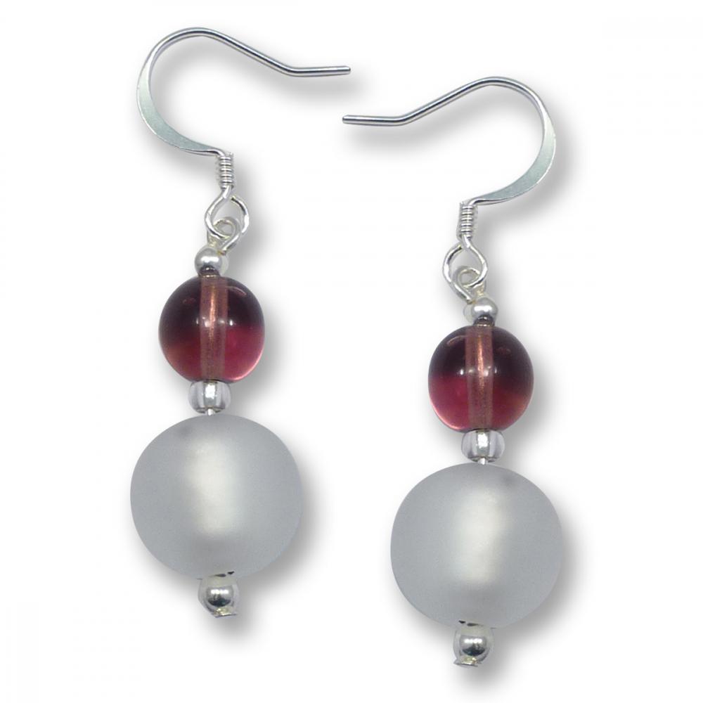 Murano Glass Earrings - Luna Silver Matt Photo