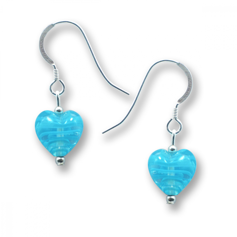 Murano Glass Heart Earrings - Esta Fili Blue Photo