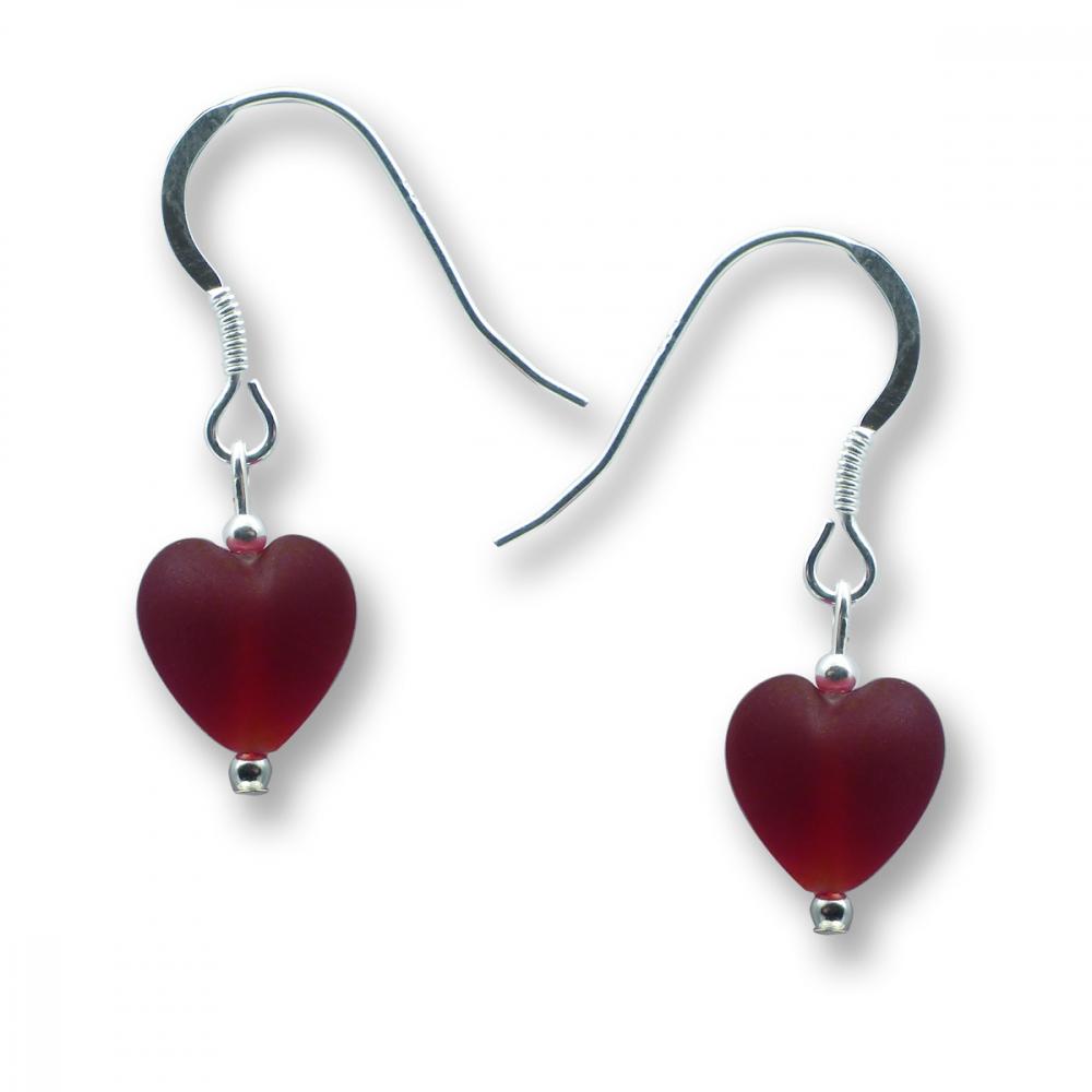 Murano Glass Heart Earrings - Esta Rosso Matte Photo