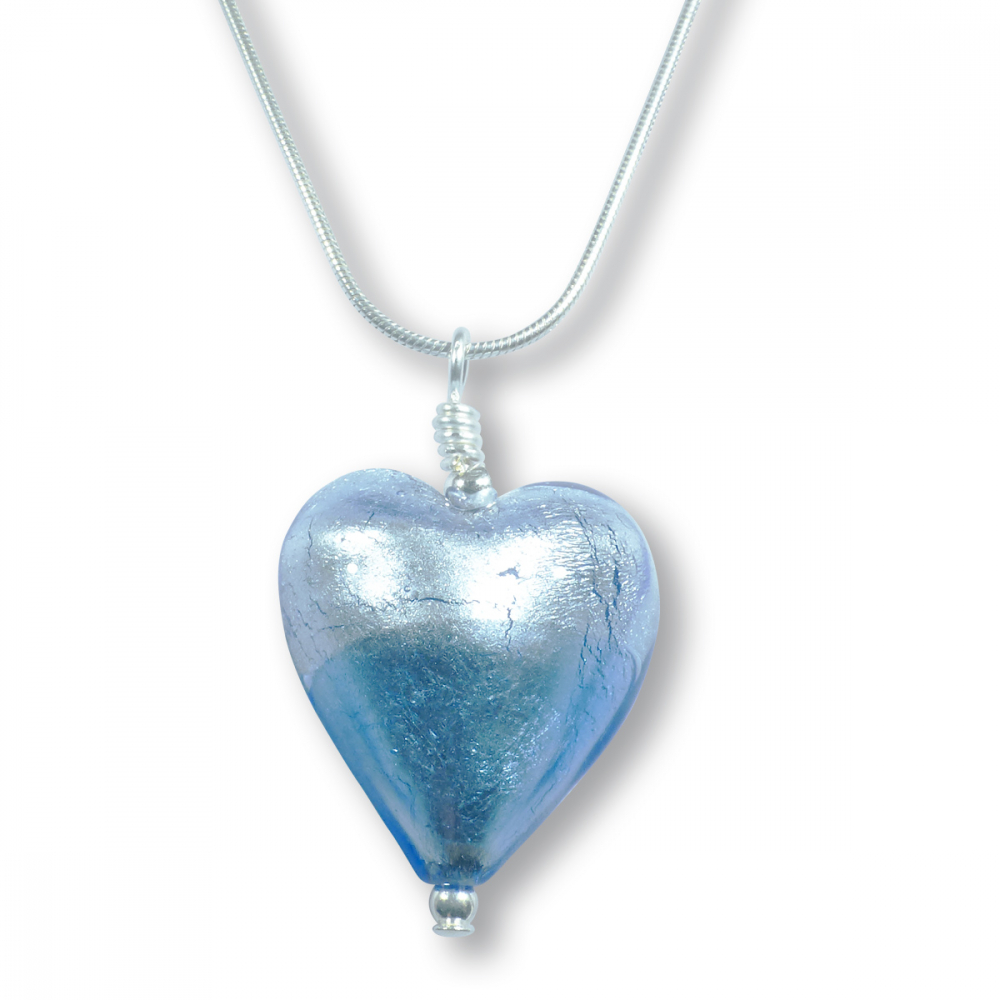 Murano Glass Heart Pendant - Esta Azure Photo