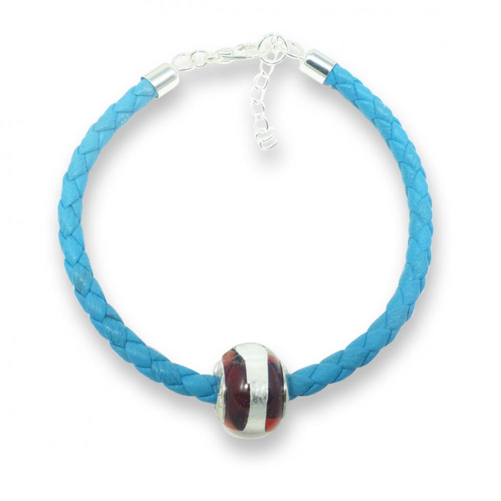 Murano glass charm bead nappa leather bracelet - venezia sedici crimson Photo