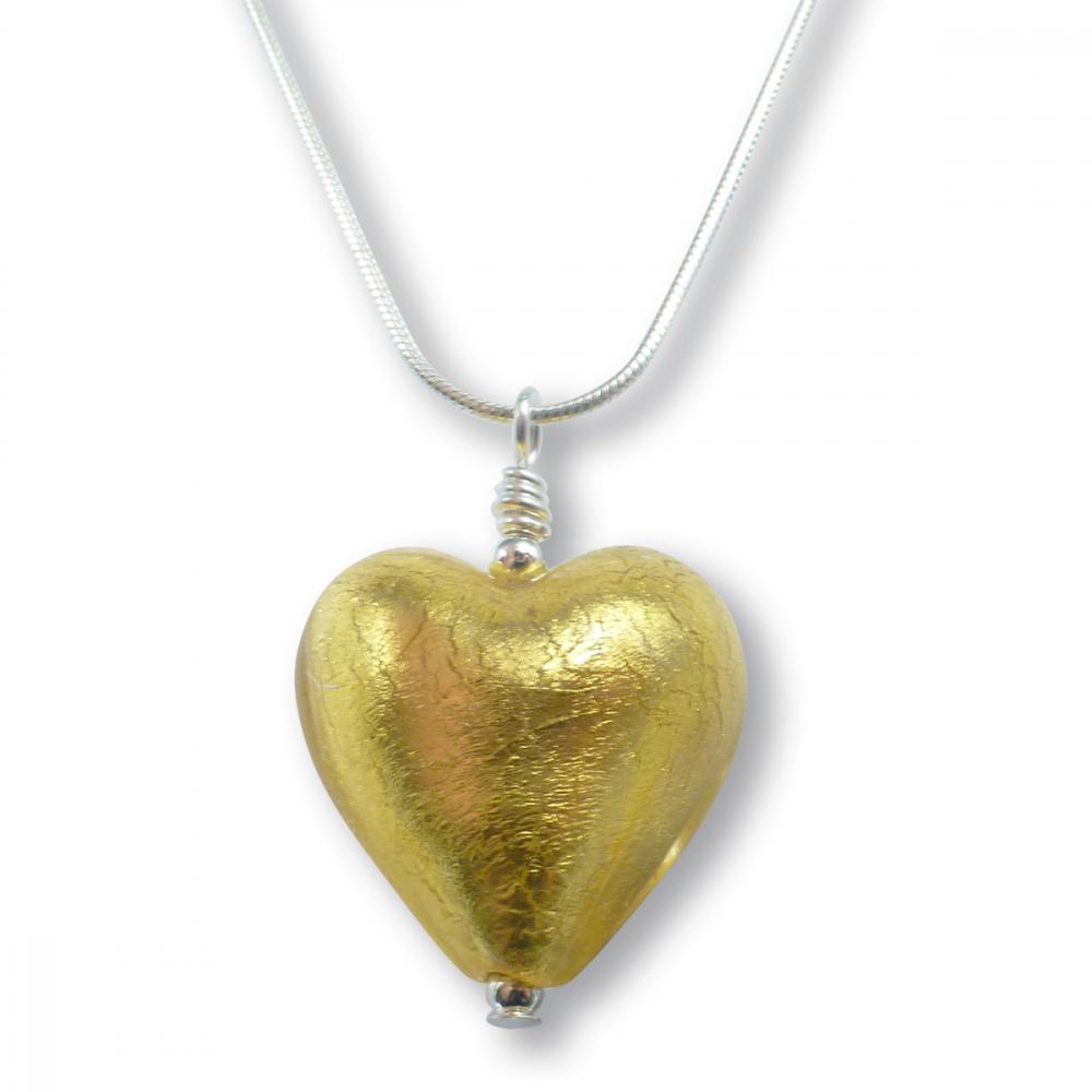 Murano Glass Heart Pendant - Esta Gold Photo