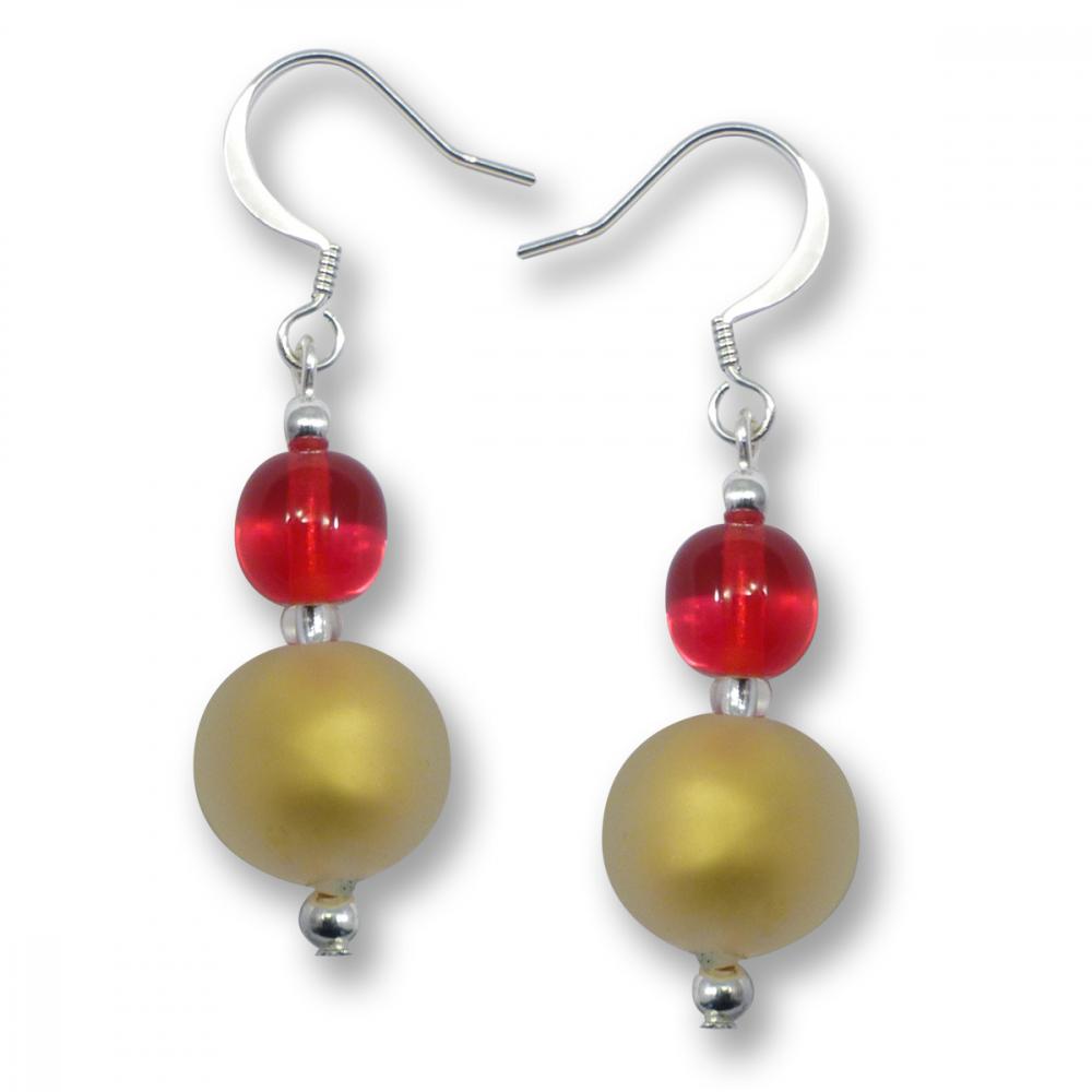Murano Glass Earrings - Luna Gold Matt Photo