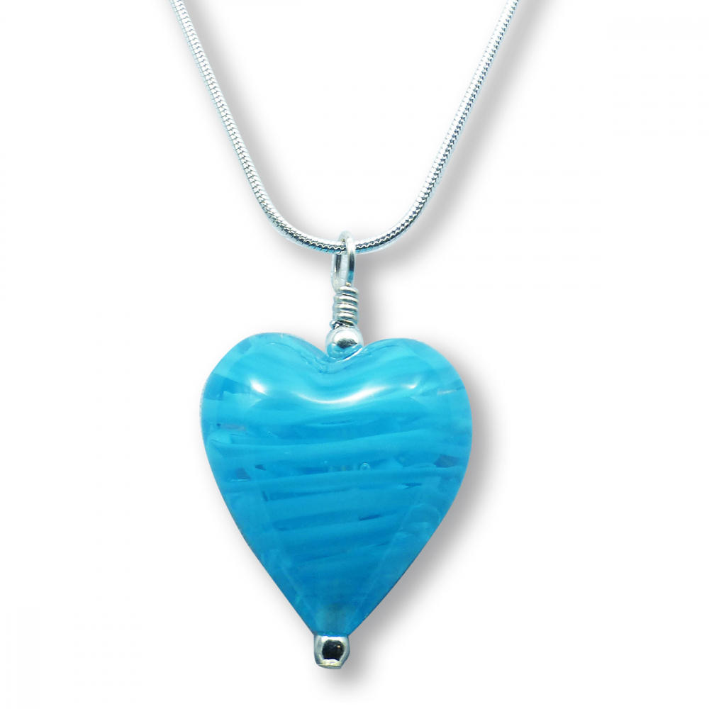 Murano Glass Heart Pendant - Esta Fili Blue Photo