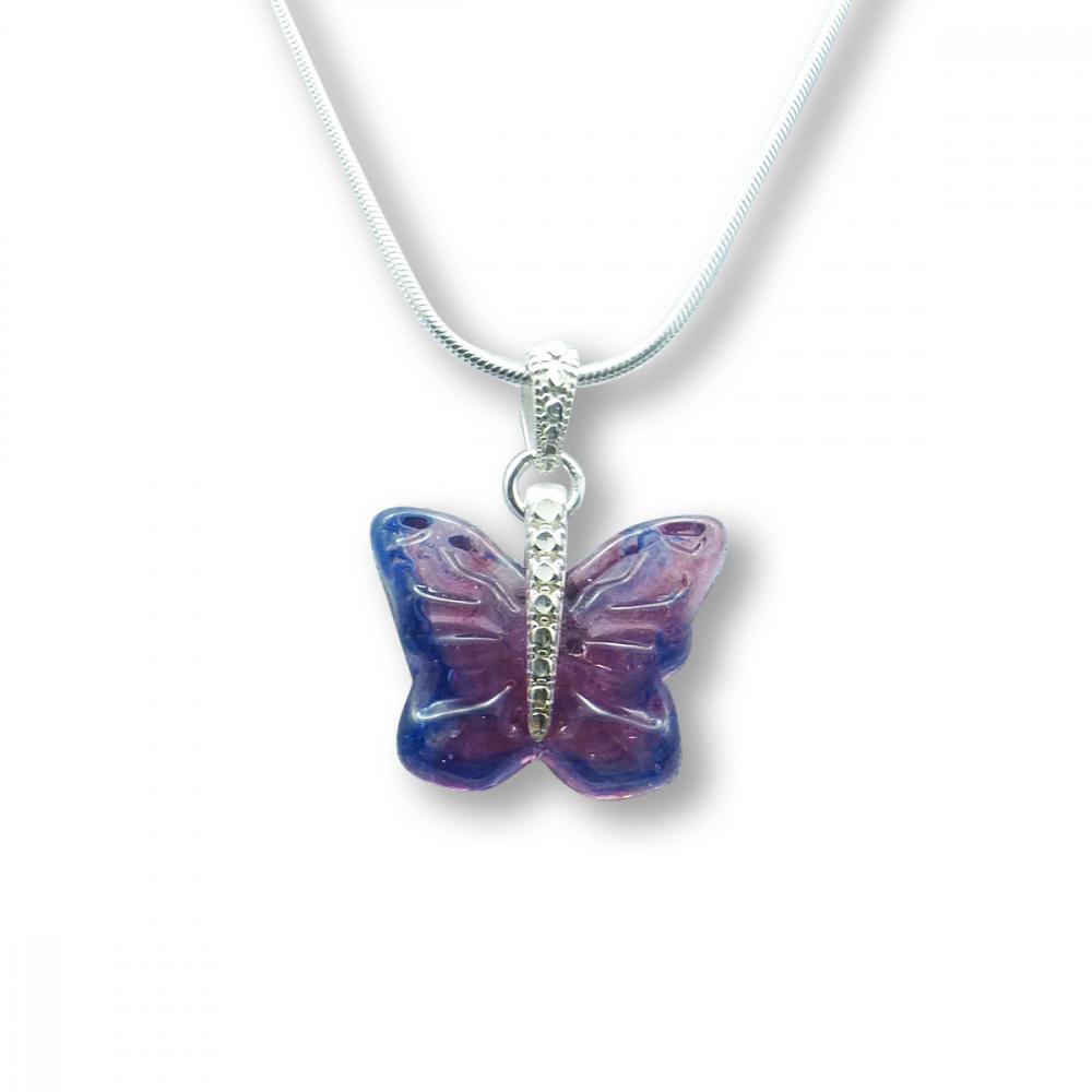 Murano Glass Butterfly Pendant – Farfalle Malva Light Photo