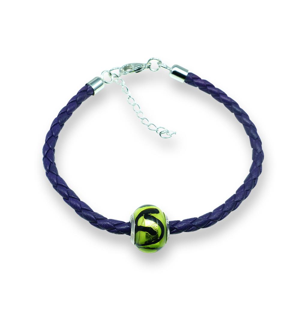 Murano glass charm bead nappa leather bracelet – Venezia Quattro Photo