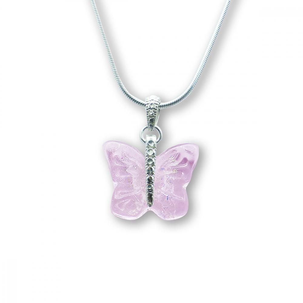 Murano Glass Butterfly Pendant – Farfalle Crystallo Rosa Photo