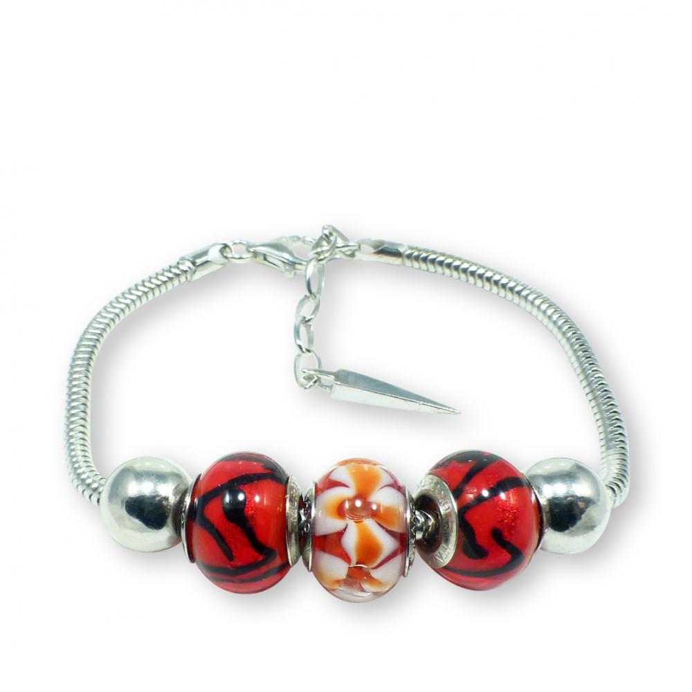 Murano glass charm bead silver bracelet - Ancona Photo