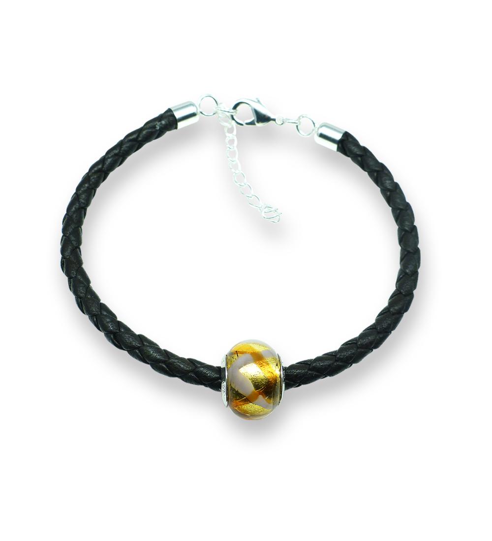 Murano glass charm bead nappa leather bracelet - Venezia Tre Photo