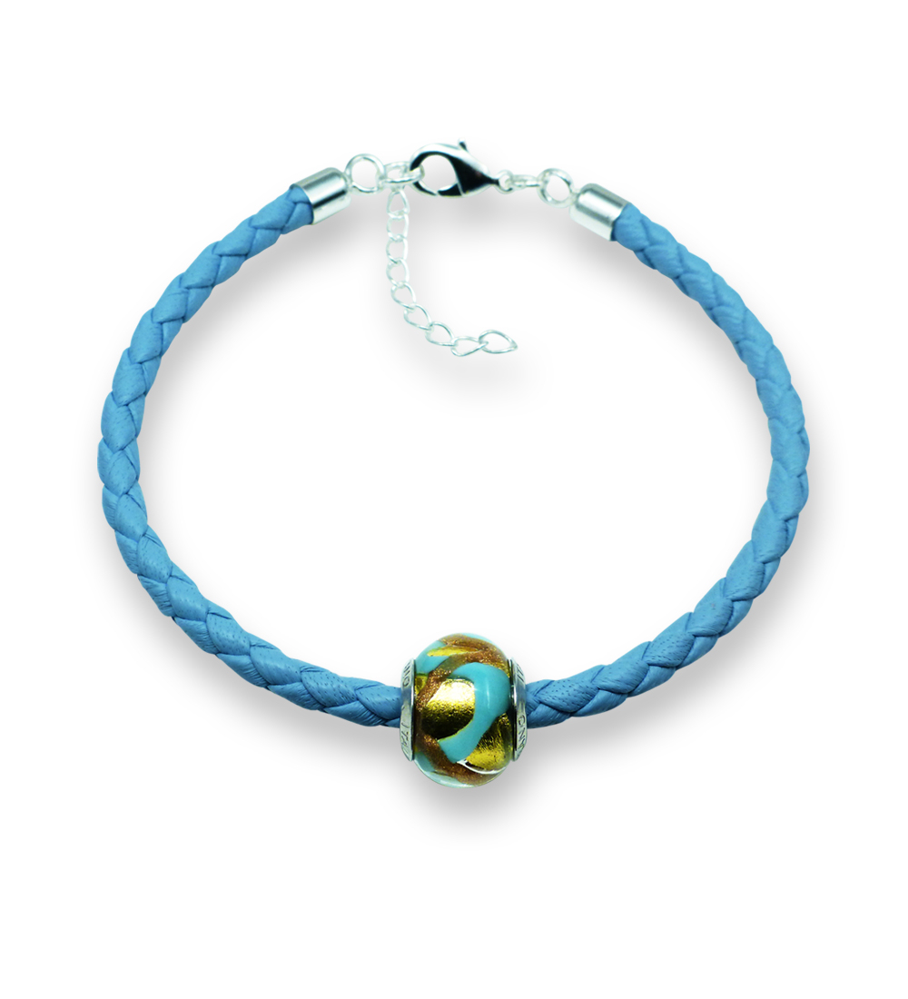 Murano glass charm bead nappa leather bracelet – Venezia Due Photo